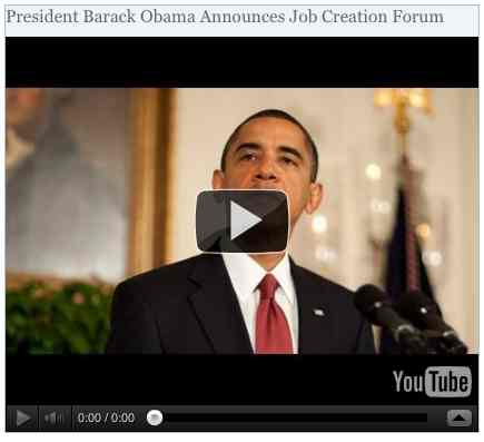 Image to go with video of: President Barack Obama Announces Job Creation Forum