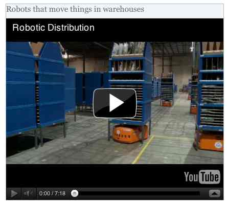 Image to go with video of: Robots that move things in warehouses