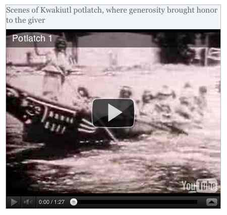 Image to go with video of: Scenes of Kwakiutl potlatch, where generosity brought honor to the giver