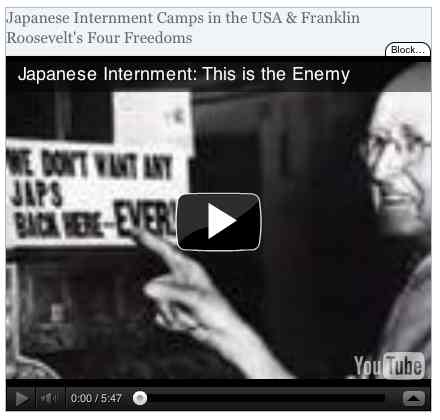 Image to go with video of: Japanese Internment Camps in the USA & Franklin Roosevelt's Four Freedoms