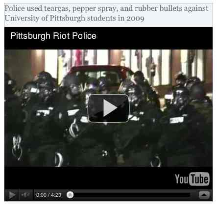 Image to go with video of: Police used teargas, pepper spray, and rubber bullets against University of Pittsburgh students in 2009