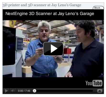Image to go with video of: 3D printer and 3D scanner at Jay Leno's Garage