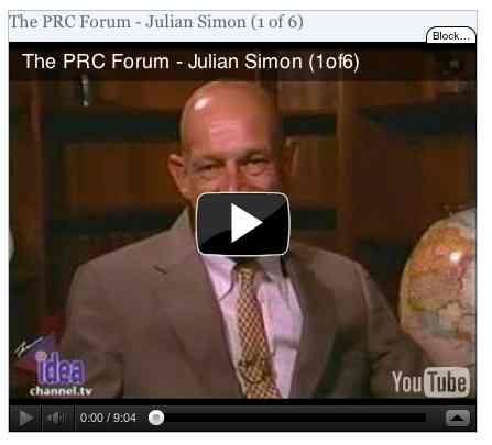 Image to go with video of: The PRC Forum - Julian Simon (1 of 6)